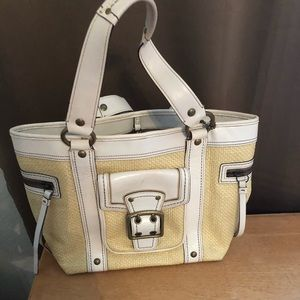 Used Coach straw and leather bag